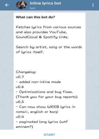Fetch songs Lyrics without leaving Telegram app